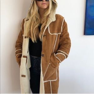 Ugg leather suede long trench coat sherpa lining